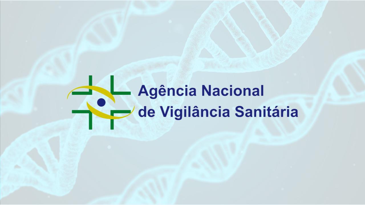 Logotipo da ANVISA sob imagem que remete a estrutura do DNA