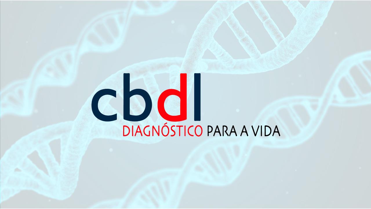 Logotipo da CBDL sob imagem que remete a estrutura do DNA
